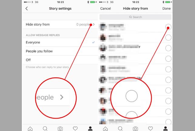 إخفاء الـ Story الخاص بك عن أي مستخدم أخر