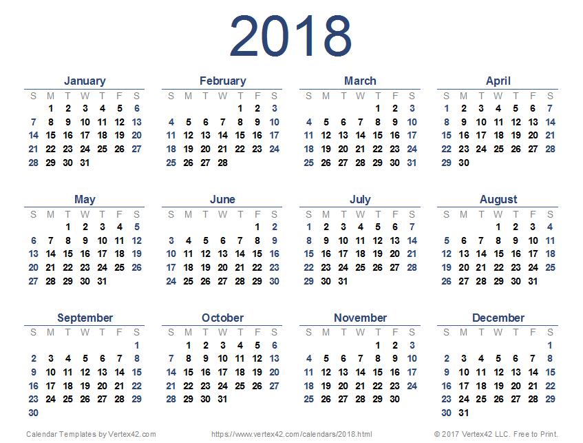 نتيجة وتقويم عام 2018 التقويم الميلادى والهجري والاجازات