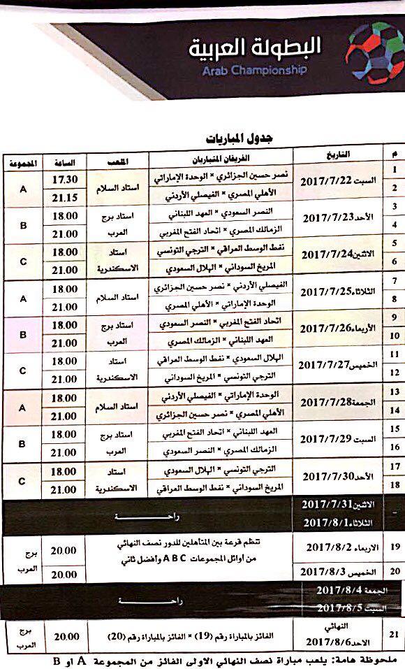 جدول البطولة العربية