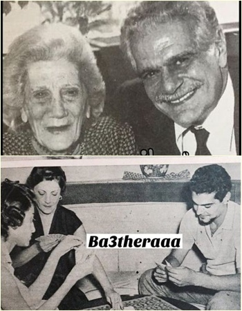 عمر الشريف ووالدته وأخته ماجدة