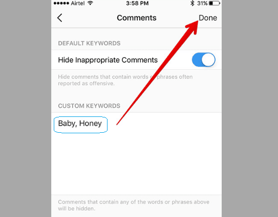 ⦁ حذف التعليقات المسيئة التي تتم كتابتها على منشوراتك بشكل أوتوماتيكي
