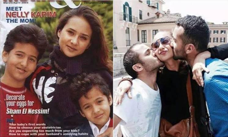نيللى كريم مع و أبنيها