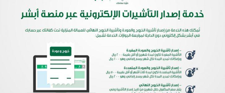 قيمة الرسوم المضافة على تأشيرة الخروج والعودة للمملكة السعودية