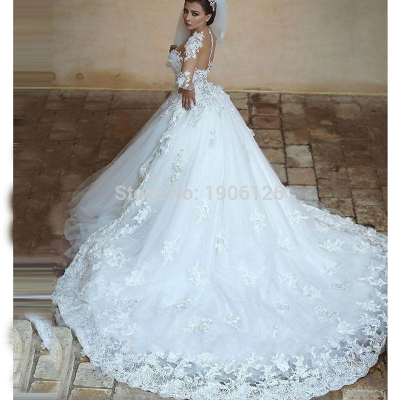 Islamic-Wedding-font-b-Gowns-b-font-font-b-White-b-font-font-b-Lace-b
