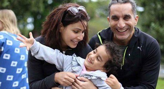 بالصور باسم يوسف يحتفل هو وزجته بعيد ميلاد ابنته الوحيدة نادية